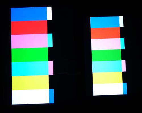 Dải màu trên iPad Air, 2, 3, 4 (trái) và iPad Mini Retina