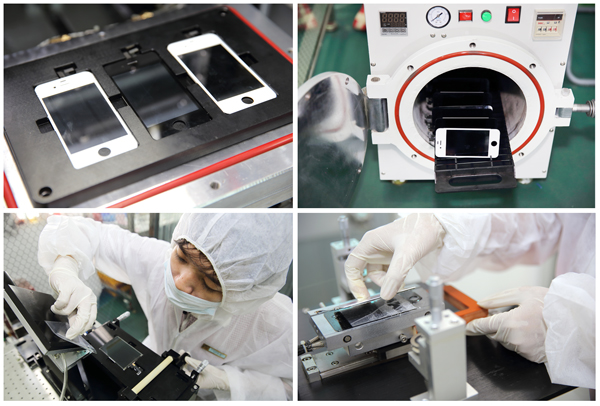 Dịch vụ tách ép màn hình, mặt kính cảm ứng bằng hệ thống máy ép chân không hiện đại.