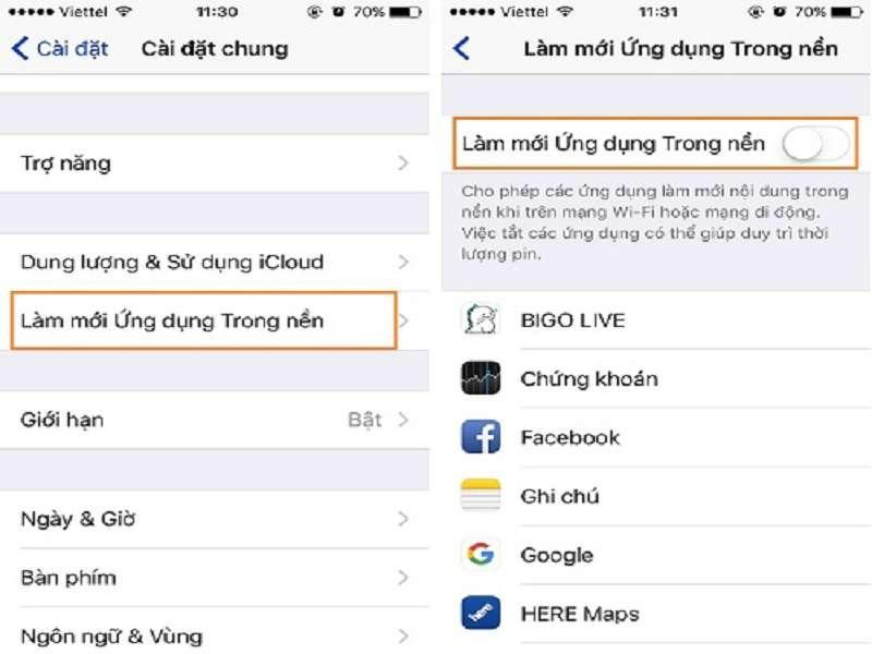 Thực hiện Tắt tính năng làm mới ứng dụng trong nền của iPhone XS Max